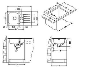 Кухонная мойка Alveus Glassix 20 (стекло белое) (с доставкой), фото 2