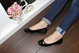 Балетки туфли женские черные лаковые Т259, фото 5