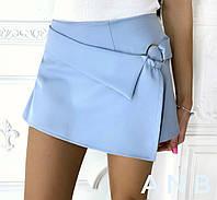 Женские шорты - юбка из костюмки (5 цветов) - Голубой АА/-1251