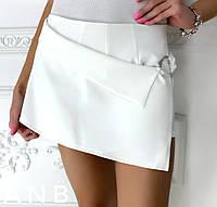 Женские шорты - юбка из костюмки (5 цветов) - Белый АА/-1251