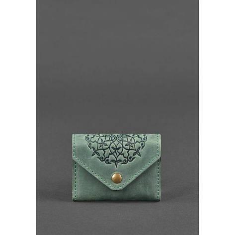 Кожаный кард-кейс 3.0 зеленый с мандалой, фото 2