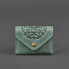 Кожаный кард-кейс 3.0 зеленый с мандалой, фото 3
