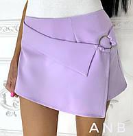 Женские шорты - юбка из костюмки (5 цветов) - Сиреневый АА/-1251