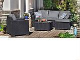 Комплект садових меблів зі штучного ротангу MOOREA SET UNITY  графіт (Allibert), фото 8