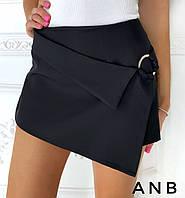 Женские шорты - юбка из костюмки (5 цветов) - Черный АА/-1251