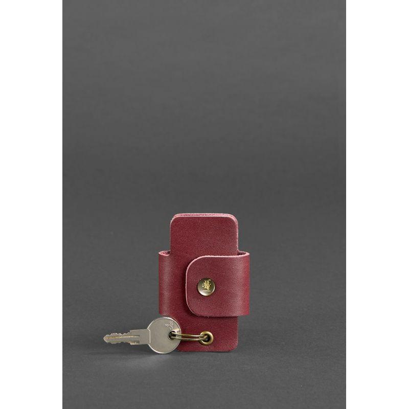 Кожаная женска ключница смарт-кейс 4.0 бордовая