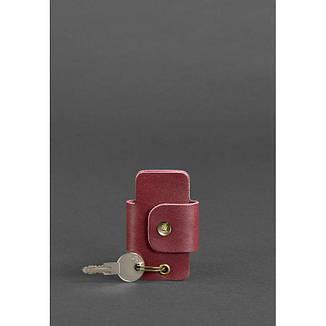 Кожаная женска ключница смарт-кейс 4.0 бордовая, фото 2
