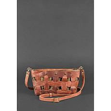 Кожаная плетеная женская сумка Пазл S светло-коричневая Crazy Horse, фото 2