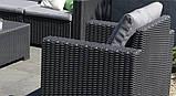 Комплект садових меблів зі штучного ротангу CALIFORNIA 2 SEATER SET графіт ( Allibert ), фото 6