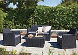 Комплект садових меблів зі штучного ротангу CORONA CUSHION SET WITH BOX графіт (Allibert), фото 9