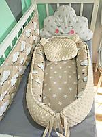 """Набор для новорожденного ( кокон, одеяло, простынь на резинке)подушка """" Мишка"""" в подарок"""