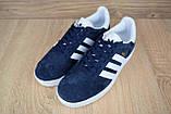 Жіночі кросівки в стилі Adidas Gazelle сині замша, фото 5