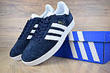 Жіночі кросівки в стилі Adidas Gazelle сині замша, фото 7