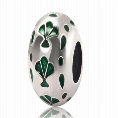 Серебряный шарм для браслета зеленый веер Барбарис