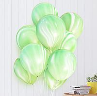 Воздушные гелиевые шары агат зеленый белый, 30см