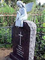 Ексклюзивний пам'ятник з ангелом та голубом на цвинтар із граніту.