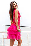 Вечернее платье с цветочной аппликацией с многослойной юбкой, фото 2