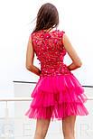 Вечернее платье с цветочной аппликацией с многослойной юбкой, фото 3