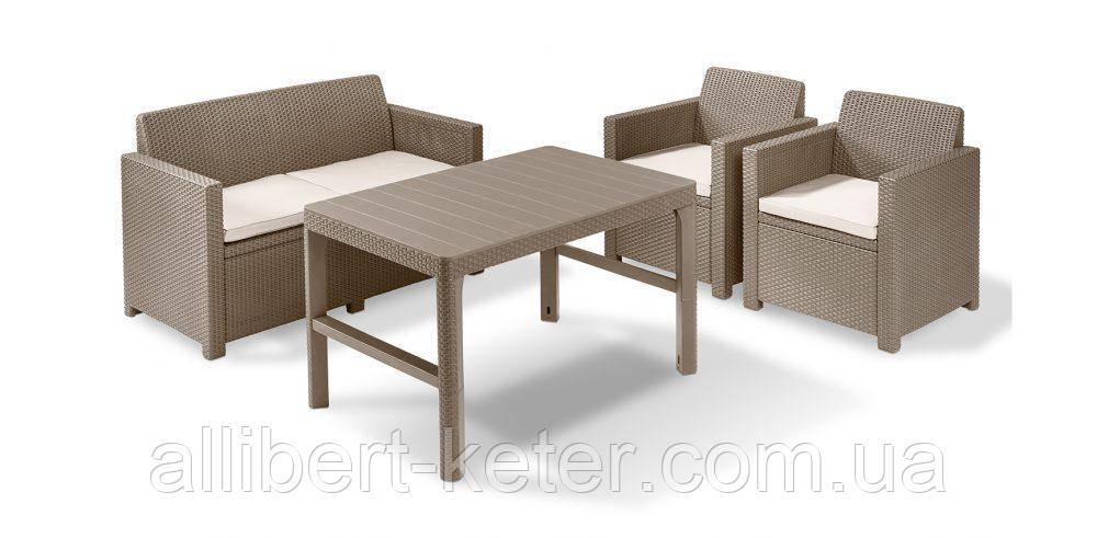 Комплект садових меблів CHICAGO SET WITH WICKER LYON TABLE капучіно (Keter)