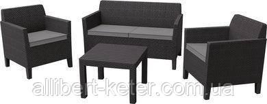 Комплект меблів зі штучного ротангу CHICAGO SET WITH SMALL TABLE графіт