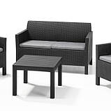 Комплект меблів зі штучного ротангу CHICAGO SET WITH SMALL TABLE графіт, фото 4