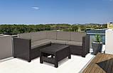 Кутовий диван зі штучного ротангу PROVENCE SET WITH COFFEE TABLE темно-коричневий (Keter), фото 7