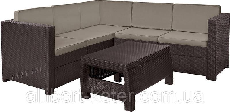 Кутовий диван зі штучного ротангу PROVENCE SET WITH COFFEE TABLE темно-коричневий (Keter)