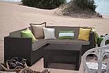 Кутовий диван зі штучного ротангу PROVENCE SET WITH COFFEE TABLE темно-коричневий (Keter), фото 9