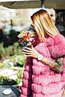 Жилетка  Женская Песцовая Удлиненная 90 см Розовая код 004 ОЖ, фото 6