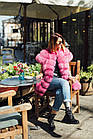 Жилетка  Женская Песцовая Удлиненная 90 см Розовая код 004 ОЖ, фото 8