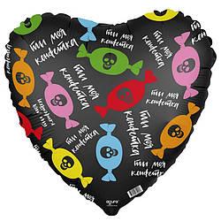 Agura Шар 18''/45 см, Сердце, Ты моя конфетка, Черный