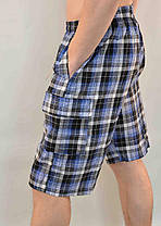 Бриджи мужские  в клетку с накладными карманами Шорты в клетку в хороших размерах, фото 2