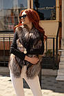 Жилетка Кожаная С Мехом Чернобурки Огневка 60 см 050КЛ, фото 6