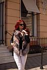 Жилетка Кожаная С Мехом Чернобурки Огневка 60 см 050КЛ, фото 7