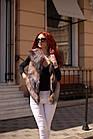 Жилетка Кожаная С Мехом Чернобурки Огневка 60 см 050КЛ, фото 8