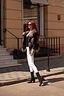 Жилетка Кожаная С Мехом Чернобурки Огневка 60 см 050КЛ, фото 9