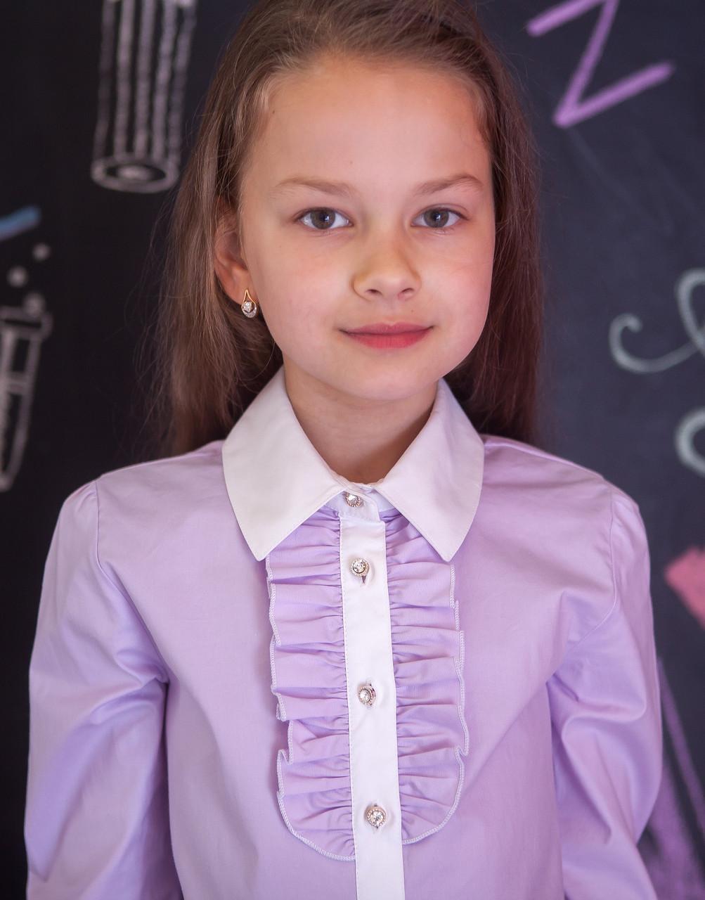Блузка рубашка сиреневая с белой планкой школьная