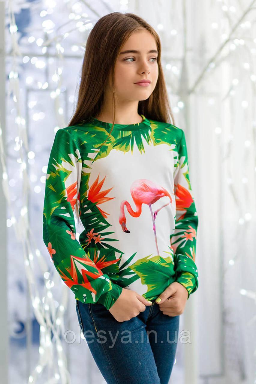 Свитшот для девочки с модным принтом Фламинго Размеры 128, 134