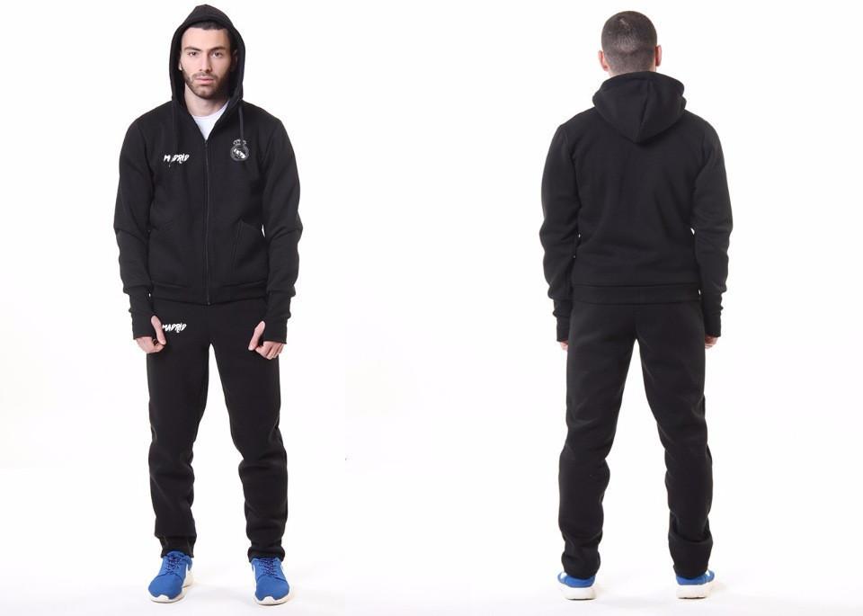 Мужской спортивный костюм Реал Мадрид, Real Madrid, Адидас, Adidas, черный