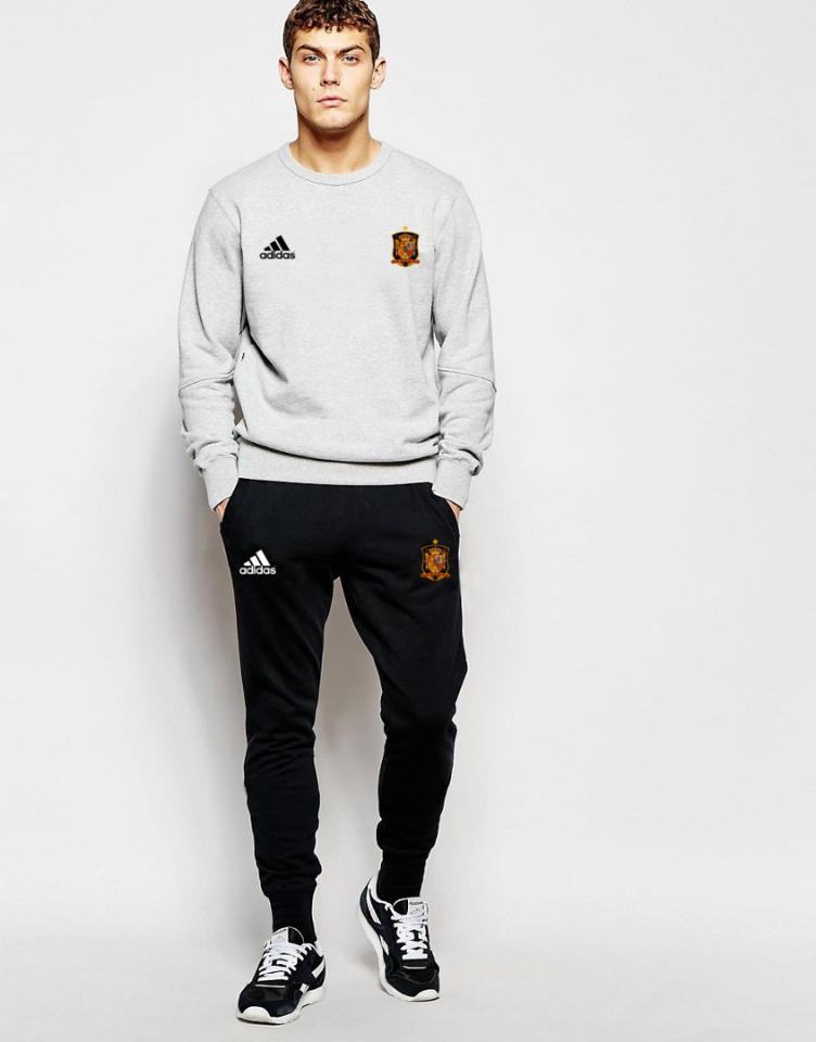 Мужской спортивный костюм сборной Испании, Spain, Adidas, Адидас, серо-черный