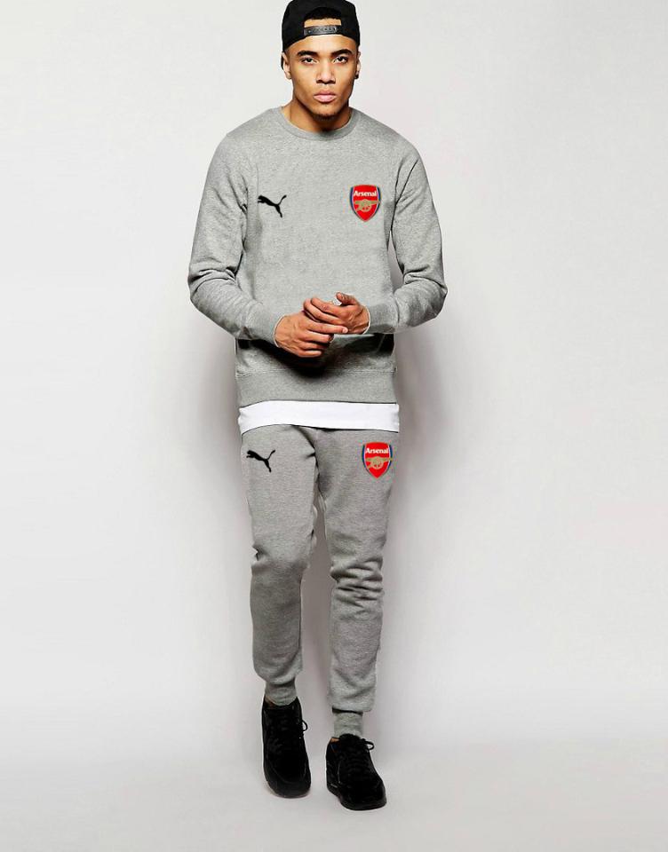 Мужской спортивный костюм Arsenal, Арсенал, Puma, Пума, серый