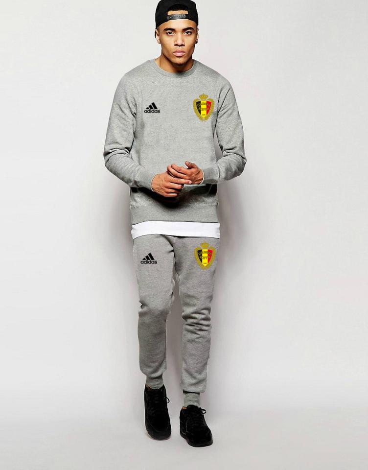 Мужской спортивный костюм сборной Бельгии, Belgium, Адидас, Adidas, серый