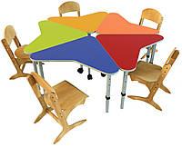Комплект из 5 детских столов «Искорка», ростовых групп № 1, 2, 3 — 630х650х460-520-580 мм, фото 1