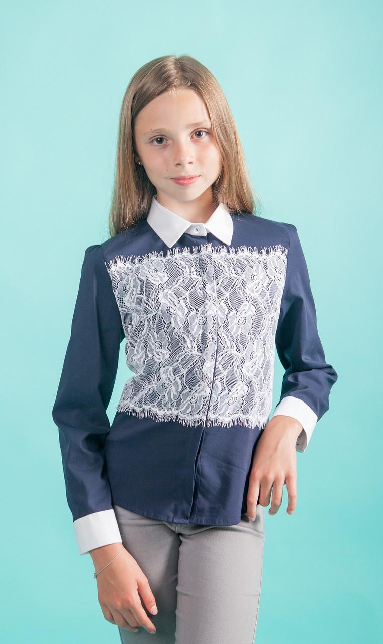 Рубашка для девочки синяя с кружевом мод. 7046