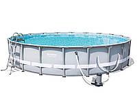 Bestway 56675 бассейн каркасный Ø 610 х122 см, фильтр-насос 9463 л/ч, лестница, тент, фото 1