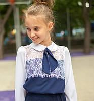 Блузка для девочки шифоновая синяя с белым и  кружевом мод. 8001