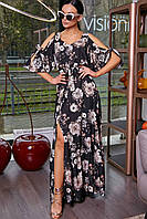 Женское длинное платье в пол с разрезом «Фиола» (Черное, белое | S, M, L, XL)