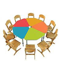 Комплект из 5 детских столов  «Лучик», ростовых групп № 1, 2, 3 — 600х576х460-520-580 мм, фото 1