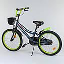 """Детский двухколесный велосипед салатовый, корзинка, подножка, ручной тормоз Corso 20"""" детям 6-9 лет, фото 2"""