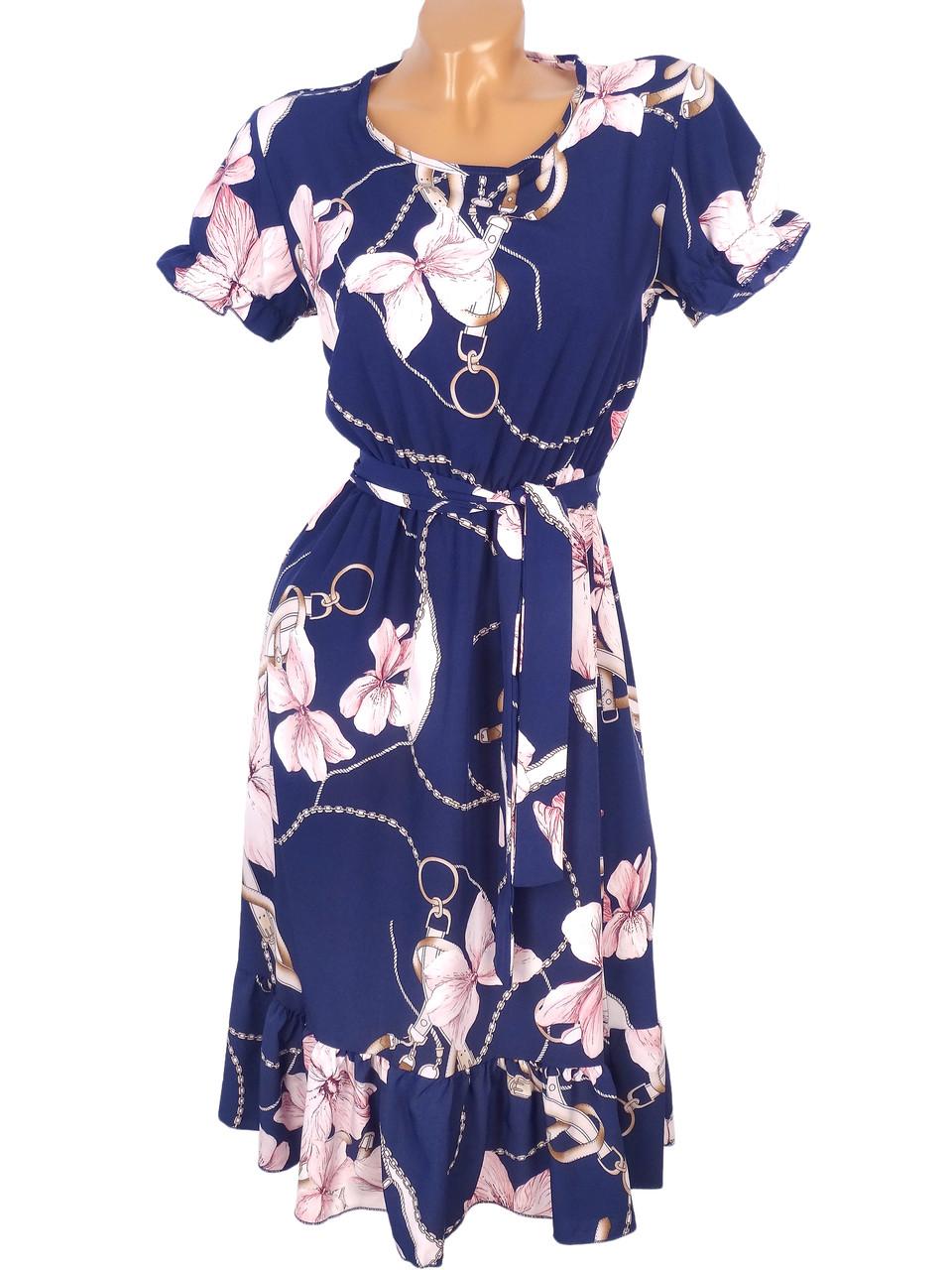 Красивое платье с рюшами на юбке 42-48